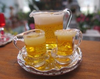 Dollhouse Miniatures - Glass Pitcher & Mugs of Beer for 2 on Tray - Lager or Beer for Bar, Pub, etc.