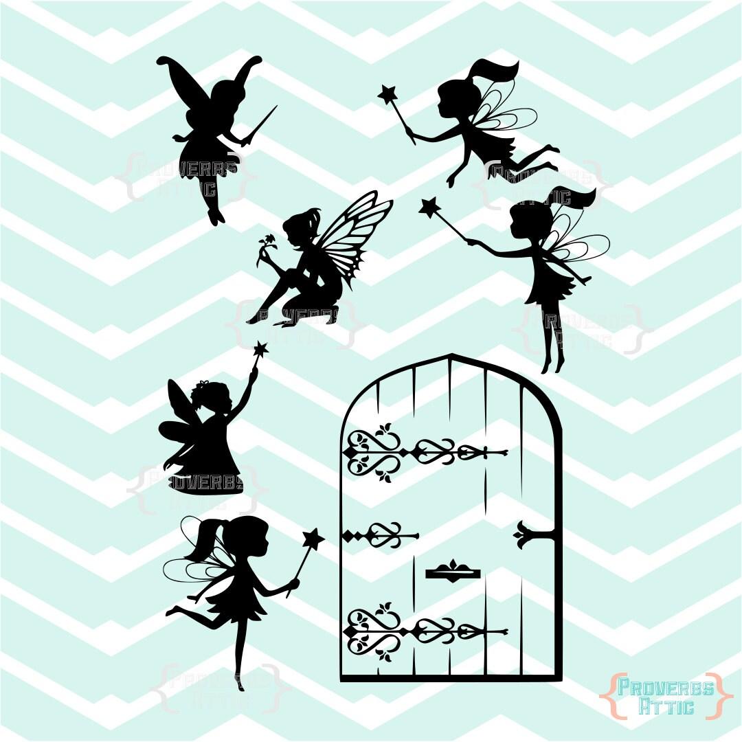 Fairies fairy door girls cutting vinyl decals wall art for Fairy door wall art