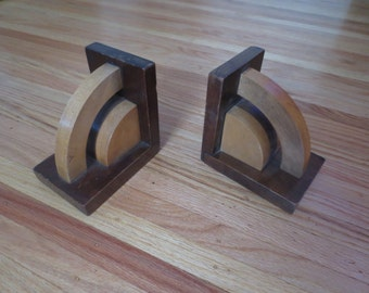 """ART DECO WOODEN Bookends 5 1/2"""" High 5 3/4"""" Front To Back Light and Dark Wood"""