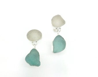 Sea glass pebbles in sterling silver beach glass earrings handmade natural sea glass jewelry