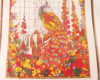 Peacock Stained Glass Cross Stitch or Needlepoint Embroidery Kit Bird