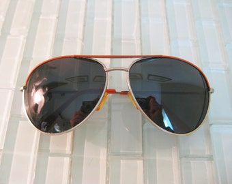 Chrome Aviator Sunglasses Orange Enamel