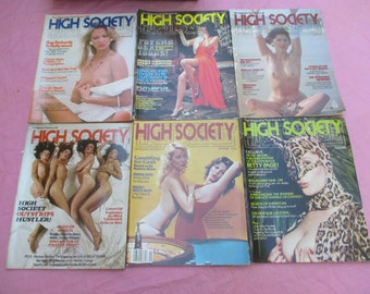 Six (6) 1976 Issues HIGH SOCIETY MAGAZINE Men's Girlie Mags Nudity centerfolds
