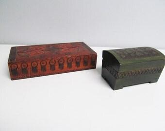 Two Vintage Poland, Folk Art Wood box hinged lid box trinket box jewelry box sewing box Handmade hand Carved Jewelry Storage heart love