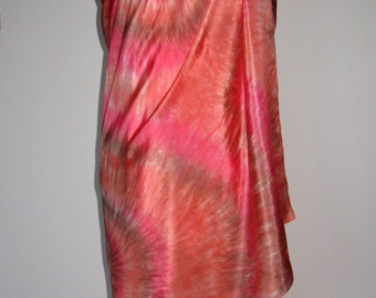 Pure Silk Sarong Pareo Shawl Wrap - Terracotta,Pink Beach Cover Up – Hand Dyed.