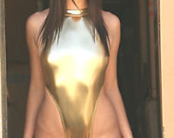 Gold metallic bodysuit thong rear