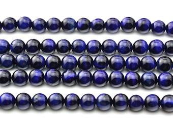"16""  8MM  Natural  African  Navy  Blue  Tigereye  Beads  Round  Gemstone"