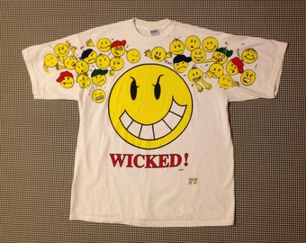 """1990's, oversized """"WICKED"""" white tee, with smiley, and other faces, by FREEZE, Adult size XL"""