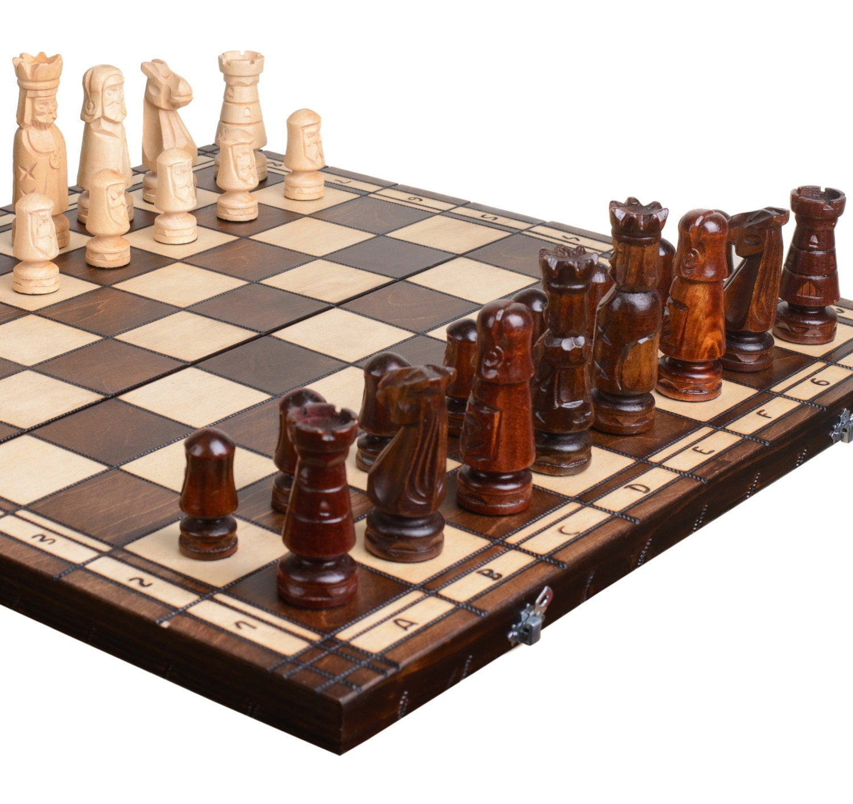 Mens Gift Husband Gift Wooden Chess Board Chess Set Wood