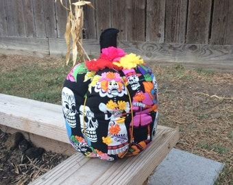 Day of the Dead Fabric Pumpkin