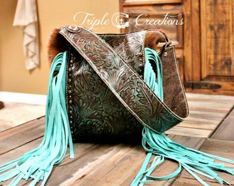 Cowhide and Leather Purse/Tote/Shoulder Bag with Fringe