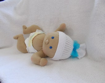 """12"""" Preemie Baby Boy Waldorf Inspired cloth handmade Doll Bald Embroidered Blue Eyes stuffed plush Christmas Easter little small toy"""