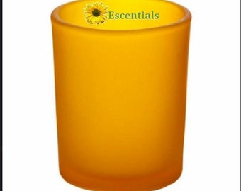 Yellow Frosted Votive Candle Holder
