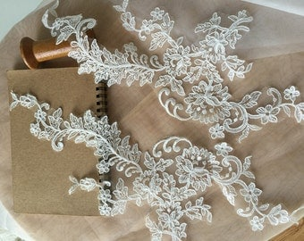 Alencon lace applique in ivory  for bridal ,wedding , gowns 2 pieces