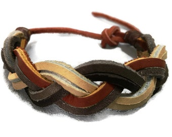 Mens braided leather bracelet, mens leather wristband cuff, mens braided cuff, mens braided bracelet, mens leather cuff.