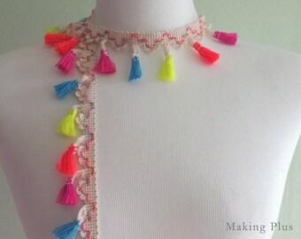 Ivory, Multi Coloured Tassel Fringe, Neon pom pom Trim, tassel garland Supply - 1 yd
