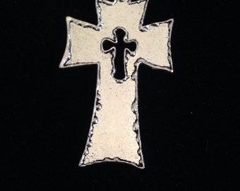 3 Pieces Cut Out Cross Pendant 59x39mm Antique silver finish rustic metal cross, 18-6-AS