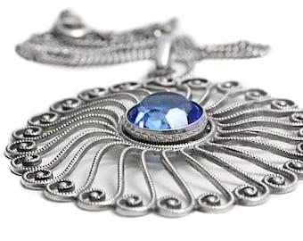 Antique Blue Topaz Pendant Silver Art Deco Jewelry