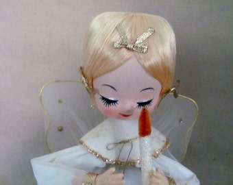 Vintage Christmas Angel, 1960's Musical Angel Figurine, Bradley Style Angel, Silent Night, 1960's Christmas Decoration, Mid Century
