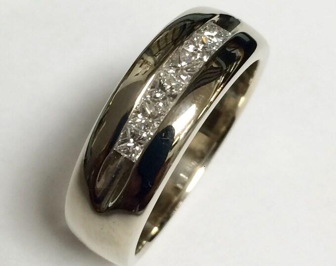 Six Princess Cut Diamond 14K White Gold Band