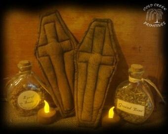 Primitive Coffin Ornies set of 2