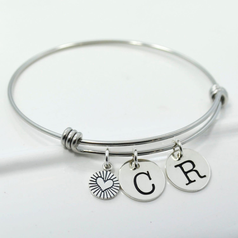 Initial Charm Bracelets: Initial Bangle Charm Bracelet Couples Initial Bangle