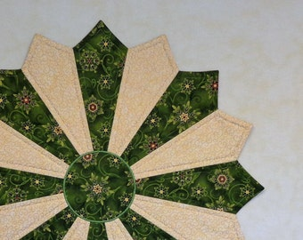 """Christmas Table Topper, Holiday Table Topper. Quilted Table Topper, Round Table Topper, Round Table Runner, """"Shimmering Snowflakes II"""""""