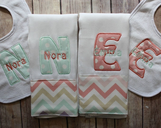 Monogrammed Twin Burp Cloth Set, Monogrammed Baby Girl Burp, Personalized Baby Gift, Twin Baby Gift, Twin Girl, Baby Girl, Monogram Girl