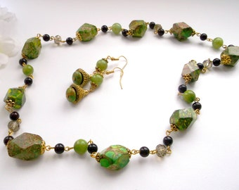 Green jewelry set Sediment jasper necklace Green summer set Green brown stone jewelry set green jade jewelry set green jasper necklace