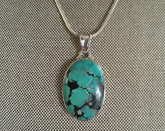 Turquoise Gemstone Pendant in 925 Sterling Silver Setting