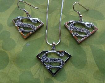 Superman crystal pendant or earrings