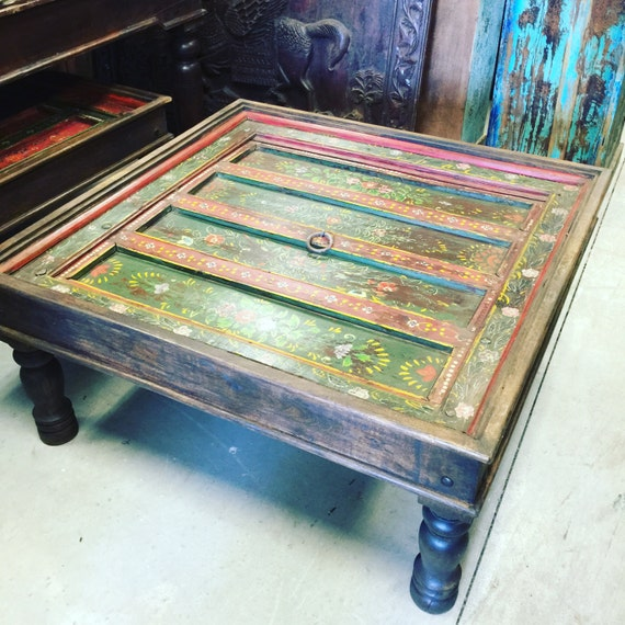 Antique Jaipur Coffee Table Red Green Floral Hand By