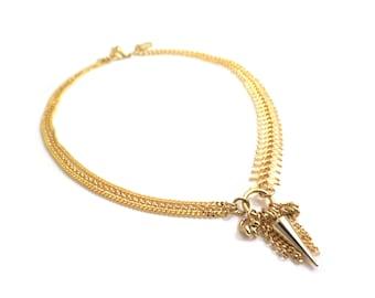 LIZA - gold choker necklace, asymmetric necklace, gold chains necklace, multi chains necklace, spike necklace, boho chic necklace, modern
