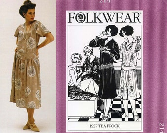 Folkwear 1927 Tea Dress sizes 8-14 Sewing Pattern # 214 in 2 Views - Optional Smocking & Embroidery