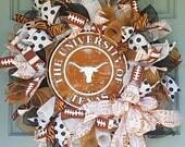 Texas Longhorns- Deco Mesh Wreath- Texas Longhorns Wreath-Collegiate Decor-Longhorns