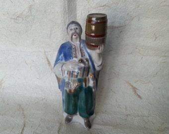 Ukrainian Bottle - Vintage Soviet Porcelain Ukrainian Man Carafe Made in USSR in 1970s.