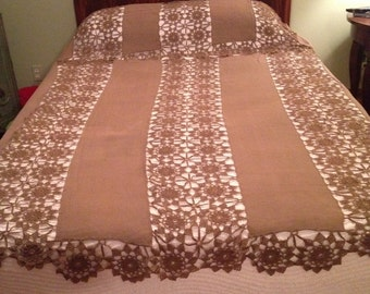 Two Piece, Brown Crochet Bed Topper