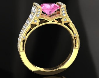 Pink Sapphire Engagement Ring Pink Sapphire Ring 14k or 18k Yellow Gold Matching Wedding Band Available W24PKY