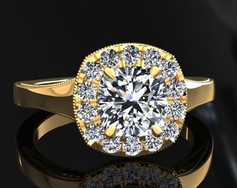Moissanite Halo Engagement Ring Cushion Cut Moissanite Ring 14k or 18k Yellow Gold Matching Wedding Band Available SW20MOISY