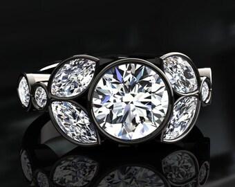 Moissanite Engagement Ring Moissanite Ring 14k or 18k Black Gold W16MOISBK