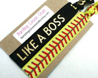 LIKE A BOSS hair tie and softball hair tie set, black with gold text, elastic ponytail holders, yellow softball gift, fastpitch