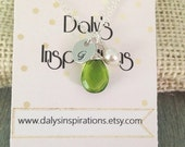SALE 40% Off August Birthstone Personalized Initial Hand stamped pendant with Peridot green quartz Gemstone Silver Necklace Wedding