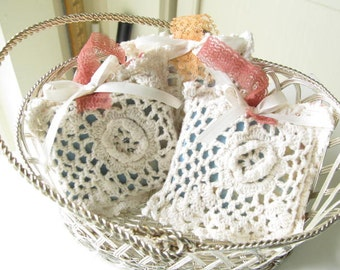 Small Party Favor or Wedding Gift, Thank You Gift, Vintage Doily Sachet, Cherry Bubble Gum Scent with Goats Milk soap, Soap Bag, Sach23