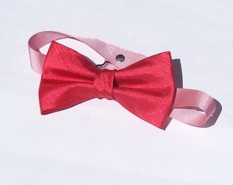 Red shantung bow tie