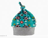 Top knot baby beanie organic cotton