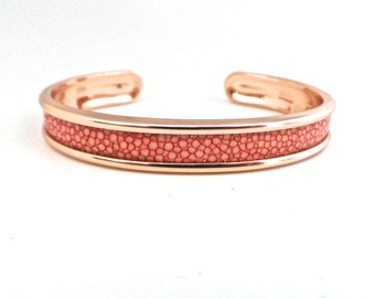 Bangle Bracelet Pink salmon and Golden