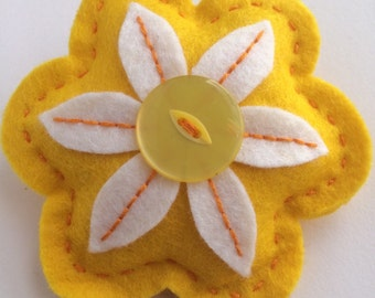 Yellow Felt Flower Brooch
