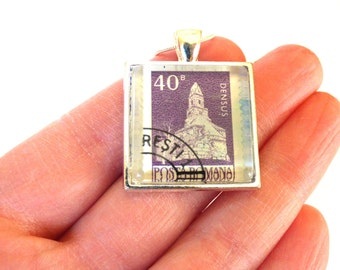 Romania Postage Stamp Glass Tile Pendant Necklace OOAK Romanian Recycled Material Repurposed Postal Mail Purple Upcycled Paper Jewelry