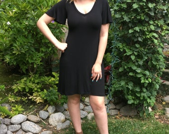Black Dress, Black Plus Sizes, Dresses, Womens Plus Size, Black Basics,  Womens Clothing Black, XS S M L XL 2X 3X, V Neck, Flutter Sleeve