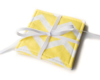 Yellow Chevron Cloth Drink Coasters - Cloth Coasters - Fabric Coaster Set